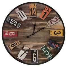 Wall Clock - Decorate with a bit of well-traveled style via the Will in. This rustic wooden wall clock has cut-up vintage license plates from aro. License Plate Crafts, License Plate Art, License Plate Ideas, Old License Plates, Diy Clock, Clock Wall, Clock Ideas, Big Wall Clocks, Make A Clock