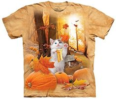 The Mountain 100% Cotton Fall Kitty T-Shirt (Tan, M). Amazingly realistic animal shirts!. Pre-shrunk, oversized relax fit with reinforced double-stitching. Ideal gift idea for birthdays and holidays!. Machine Wash Cold, Tumble Dry Medium; Do Not Bleach. Available in multiple sizes!.