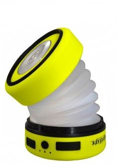 Gear Up Center  - SOLAR EXPANDABLE LANTERN FLASHLIGHT  Folds up to a round disc compact enough to fit in your pocket, powerful enough to light a family tent.  6 hours of bright light. USB Port for charging cell phones.