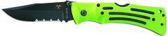 "KA-BAR 3058 Zombie Original Mule Straight Edge Folding Knife Weight: 0.45                                Overall length: 9 1/8"" Blade Length: 3 7/8""                  Blade Shape: Clip Point Blade Stamp: KA-BAR              Steel: AUS 8A SS                      Grind: Hollow                              HRC Rating: 57-59CR Handle:  Green Zytel                  Serrated: No Lock: Lockback   Knife comes with a black Nylon belt sheath & reversible belt clip. www.tomarskabars.com"