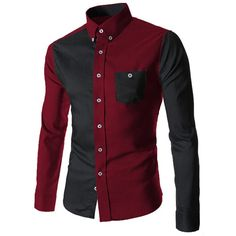$10.93 Color Block Spliced Turn-Down Collar Long Sleeve Pocket Button-Down Men's Shirt