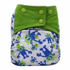 Baby's Super Absorbent & Breathable Reusable Wacky All-in-One Cloth Diaper in Green & Blue, 20% discount @ PatPat Mom Baby Shopping App