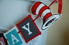 Dr Seuss Inspired Happy Birthday Banner Cat in the by GiggleBees, $26.00