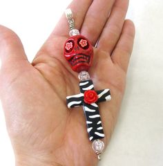 XL Day Of The Dead Key Chain Ring Necklace by sweetie2sweetie, $10.99