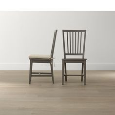 Village Grigio Wood Dining Chair and Natural Cushion.  Need 6.  Two linen slipcovered dining chairs at the end!