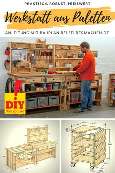 Werkstatt aus Euro-Paletten bauen How to set up a sturdy workshop with home-made furniture and plenty of storage space? Very simple – with Euro pallets! We also have a guide for a practical trolley. Garage Tool Organization, Diy Garage Storage, Workshop Organization, Tool Storage, Storage Spaces, Pallet Furniture, Furniture Making, Work Shop Building, Euro Pallets