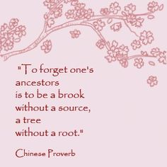 To forget one's ancestors is to be a brook without a source, a tree without roots.   Chinese Proverb
