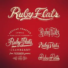Used and unused logo & packaging ideas for Ruby Flats. #type #typography #typografi #lettering #handtype #handdrawntype #handlettering #letters #art #americana #branding #calligraphy #calligritype #creative #design #goodtype #graffiti #graphicdesign #illustration #logo #logotype #streetart #scriptletter #typedaily #thedailytype #vintage #packaging #handdrawn #wisconsin #usa by pezandpencil