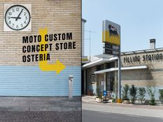 Filling Station Motel Garage and Concept store by Visual Display, Udine – Italy Shops, Filling Station, Concrete Counter, Visual Display, Entrance Gates, Boutique Hotels, Retail Design, Motel, Garage