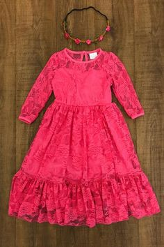 Have your princess the star of the show this stunning soft lace dress! So elegant and sweet. Length of the dress is approximately mid calf. Perfect for everyda Fall Outfits, Kids Outfits, Cute Outfits, Elle Shoes, Kids Summer Dresses, Hot Pink Dresses, Pink Lace, Elegant Dresses, Lace Dress