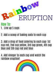 Kids Crafts Easy Science Projects - Easy Science Experiment for Kids A Rainbow Eruption. Kid Science, Science For Toddlers, Science Week, Summer Science, Science Crafts, Science Party, Preschool Science, Science Education, Easy Science Projects