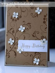 Handmade Birthday card using Flowering Flourishes from Stampin' Up! - Stampin' Up! Demonstrator Michelle Last