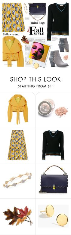 """""""Fall Style, yellow trend & mini bags"""" by sara-cdth ❤ liked on Polyvore featuring Christian Siriano, Gucci, Peter Pilotto, Ross-Simons, Fendi, Anne Klein and J.Crew"""