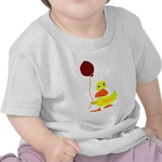 Funny Yellow Duck Holding Red Balloon Tshirts #ducks #balloons #funny #shirts #babygifts #birthdays And www.zazzle.com/tickleyourfunnybone*