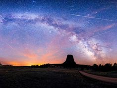 The Earth experiences a meteor shower when the Earth's orbit coincides with the comet's. Pictured is the Eta Aquarids Meteor shower taken over three nights over Devils Tower in Wyoming Star Photography, Photography Challenge, Night Photography, Photography Tutorials, Landscape Photography, Nature Photography, Photography Basics, Scenic Photography, Aerial Photography