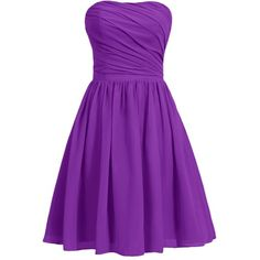 Dresstells Women's Short Strapless Bridesmaid Dress Homecoming Party... ($39) ❤ liked on Polyvore featuring dresses, cocktail bridesmaid dresses, short dresses, purple dress, homecoming dresses and strapless cocktail dress