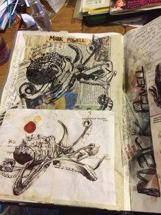 My attempt at a mark Powell copy Gcse Art Sketchbook, Sketchbook Ideas, Sketchbooks, Mark Powell, Book Presentation, A Level Art, Natural Forms, Art Portfolio, Art Lessons