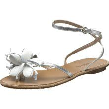 Madison Harding Women's Chinacat Flat Sandal in Silver/white. SO CUTE! Love this