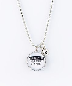 Silver 'Bushel & Peck' Heart Charm Pendant Necklace by Jennifer Dahl Designs #zulily #zulilyfinds
