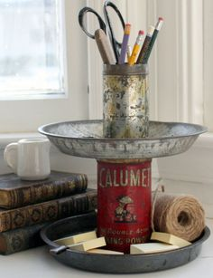Vintage tin desk caddy by Mitzi Curi at www.mitzismiscellany.com