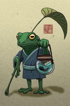 Frosch Illustration, Japon Illustration, Japanese Tattoo Art, Japanese Art, Frog Drawing, Frog Tattoos, Studio Ghibli Art, Frog Art, Arte Sketchbook