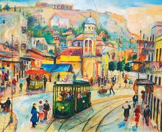 Γιώργος Σαββάκης (Αθήνα, 1922-2004) - Οδός Αθηνάς (Το τραμ στο Μοναστηράκι). Λάδι σε καμβά, 80 x 120 εκ.