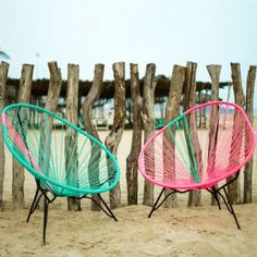 Acapulco Chair, Turquoise with Pink rubber cord