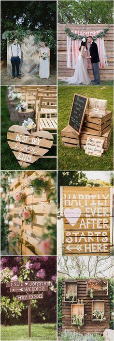 Inspirações para decoração rústica de casamento com painéis de madeira, pallets e caixotes