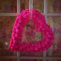 Hot pink Valentines Day wreath!