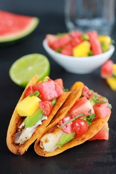 Coconut Lime Mahi Mahi Tacos with Tequila Soaked Watermelon Salsa by halfbakedharvest #Tacos #Mahi_Mahi #Watermelon