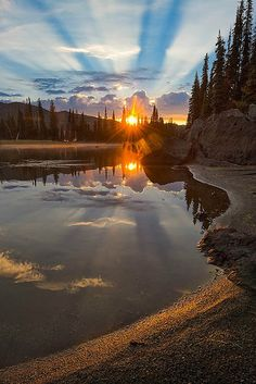 Beautiful sunset landscape more at @ Landscape Photography, Nature Photography, Sunrise Photography, Photography Tips, Travel Photography, Sunrise Lake, Beautiful Sunrise, Beautiful Morning, Belle Photo