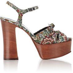 Saint Laurent Women's Tapestry Candy Platform Sandals (£625) ❤ liked on Polyvore featuring shoes, sandals, heels, black, platform sandals, strappy high heel sandals, heeled sandals, black sandals and strappy platform sandals
