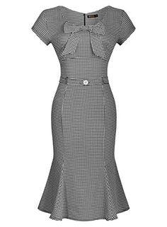 7ca8f36a70 Amazon.com  Miusol Women s Vintage Houndstooth-Print Bow Slim Retro Evening  Dress (Small