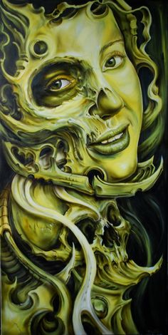 Downward Spiral, dark fantasy biomechanical art by Derek Turcotte