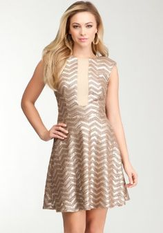 Bebe Size Medium Chevron Ivory Gold Sequin Flair Dress- Metallic