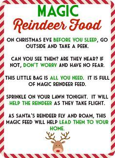 Magic Reindeer Food Poem & Free Printable.  Also includes the Reindeer Food recipe.