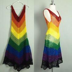 Vtg 70s Rainbow Crochet Chevron Dress Sheer Cutout Hippie Boho Trophy s XS | eBay