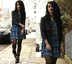 H&M Fringe Leather Jacket, Urban Outfitters Paisley Dress