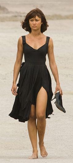 The Prada dress and Gina Paris shoes as worn by Olga Kurylenko in Quantum of Solace