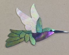 "Precut Stained Glass Art Kit Hummingbird Mosaic Inlay Handcrafted 5""x 4"" 