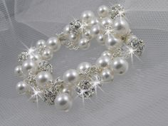 Chunky Bridal Bracelet Crystal Pearl Cluster by CrystalAvenues, $62.00