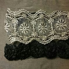 Bundle wrap around headbands One gold lace, one black lace with flowers Accessories Hair Accessories