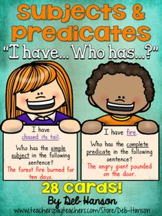and Predicates (Simple AND Complete): I Have Who Has Game Subjects and Predicates Game for the Whole Class. Who has.Subjects and Predicates Game for the Whole Class. Who has. 4th Grade Ela, 3rd Grade Writing, 3rd Grade Reading, Second Grade, Grammar Games, Grammar Activities, Subject And Predicate Games, Simple Subject And Predicate, Games