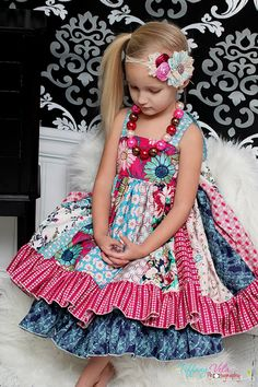 Serena's stripwork double layer Dress PDF Pattern NEW sizes 6-12 months to size 8