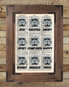 Storm Trooper expressions, Star Wars wall decor, dictionary page print