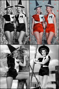 "original pin: ""Penny Edward and Barbara Bates appeared on the cover of V [no. for 4 June it was coloured red, not blue. Halloween Pin Up, Halloween And More, Halloween Pictures, Halloween Themes, Vintage Halloween, Happy Halloween, Halloween Parade, Old Hollywood Theme, Sexy Horror"