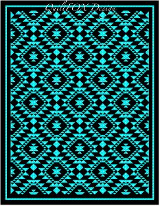 """The quilt design is based on a woven blanket, made by a Native American lady, called Myrtel, who lived and created beautiful pieces on a Navajo Reservation. Named """"Myrtel's Legacy"""" to honour the original artist. Star Quilts, Scrappy Quilts, Quilt Blocks, Southwestern Quilts, Southwestern Style, Two Color Quilts, Indian Quilt, Panel Quilts, Quilting Designs"""