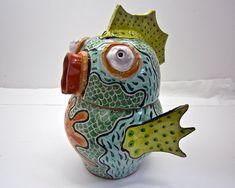 Cookie Biscuit Treat Jar Fish Creature Ceramic Clay Majolica Pottery Urn
