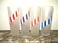 Frosted Candy Stripe Libbey Glasses by VintageShoppingSpree, $28.00