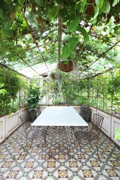 conservatory tiled floor garden house and table